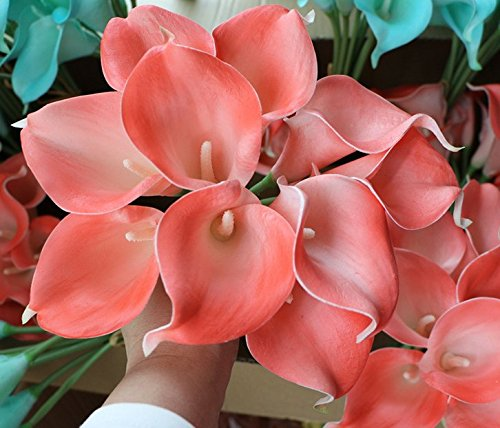 CTKcom Artificial Flower(20 Pack)- Calla Lily Bridal Wedding Bouquet Head Lataex Real Touch Flower Bouquets Wedding Party Home Garden Restaurant Decoration(Coral Pink)