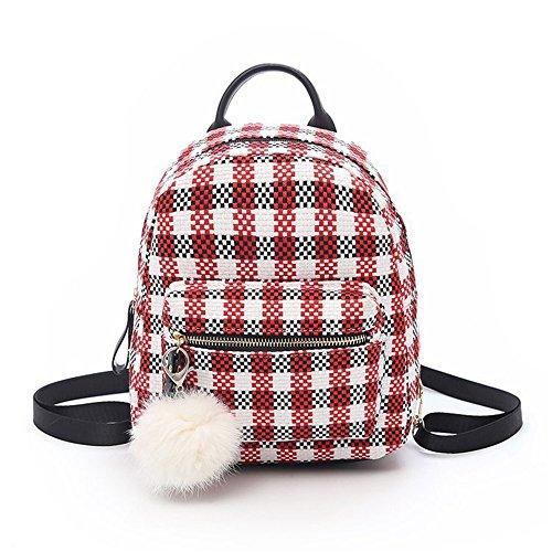 Meaeo Small Backpack Small Backpack Bag Khaki Bag Elegant Minimalist Red Square