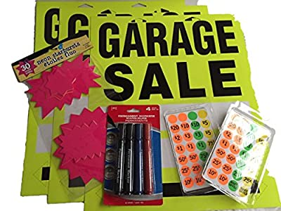"Garage Sale Kit - 3 Neon Yellow Garage Sale Signs 17"" X 14"" with Directional Arrows, 840 Price Tag Labels, 30 Neon Pink Star Burst Attention Getter, Set 4 Permanent Markers 2 Black, 1 Blue, 1 Red, Tips on Advertising - 7 Item Bundle"