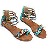 Camfosy Summer Flat Sandals for Women, Ladies Strappy Zip Sandals Colorful Cross Toe Flip Flops Gladiator Sandals Blue 8 M US