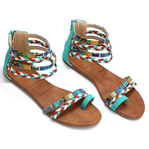 gracosy Flat Sandals for Women, Wedges Sandals Gladiator Summer Dress Sandals Ankle Slippers Woven Straps Shoes Flip Flop Thong Blue 8 M - Woven Ankle Strap Sandals