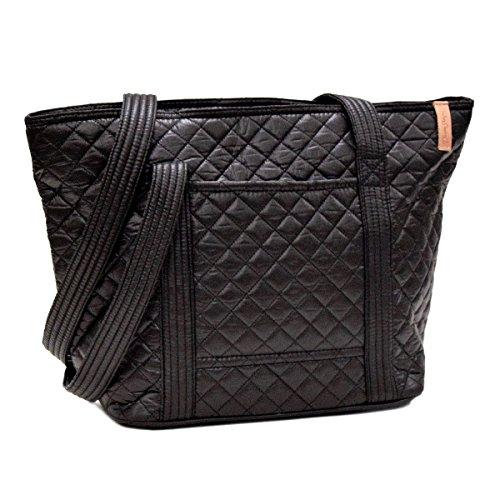Black Quilted Tote Bag - Leah Tote, Ebony Grid