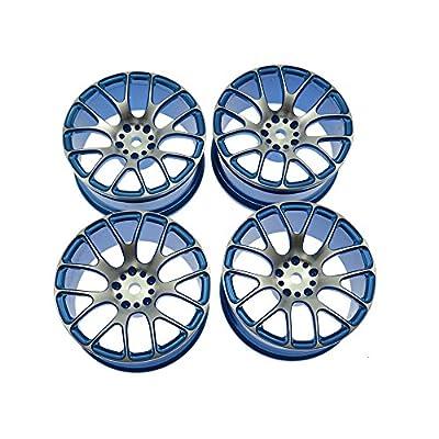 LAFEINA Aluminum Alloy Wheel Rims for 1:10 RC Drift On-Road Racing Car Touring Upgrade Parts HSP Redcat HPI Himoto Kyosho Sakura (Blue): Toys & Games