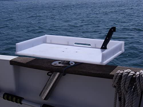 Boat Bait Table that slides into a Port Angled Out Boat Rod Holder for other positions see separate listing