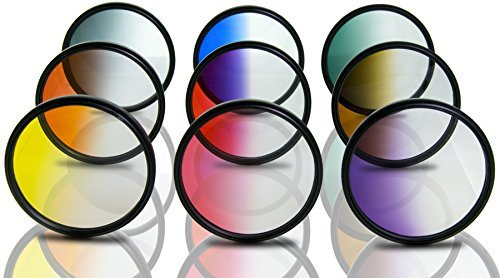 Opteka 72mm HD Multicoated Graduated Color Filter Kit for Digital SLR Cameras Includes: Red, Orange, Blue, Yellow, Green, Brown, Purple, Pink and Gray ND Filters