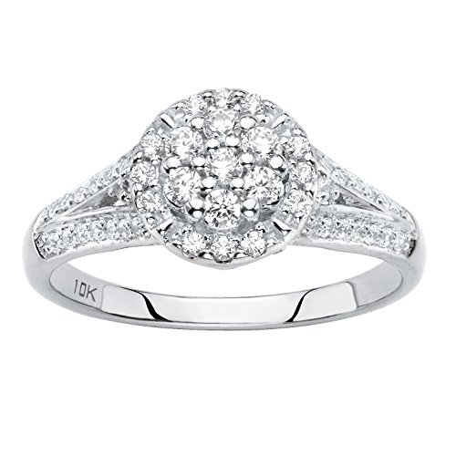 Solid 10k White Gold Round Cluster Diamond Engagement Ring .55 cttw, HI Color, I3 Clarity Size - 10k Diamond Cluster Ring