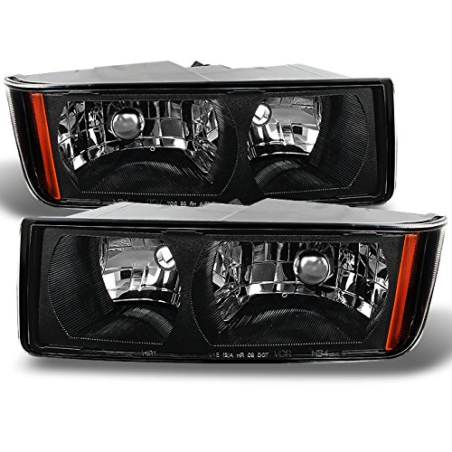For Chevy Avalanche Body Cladding Model Black Bezel Headlights Front Lamps Replacement Left + Right