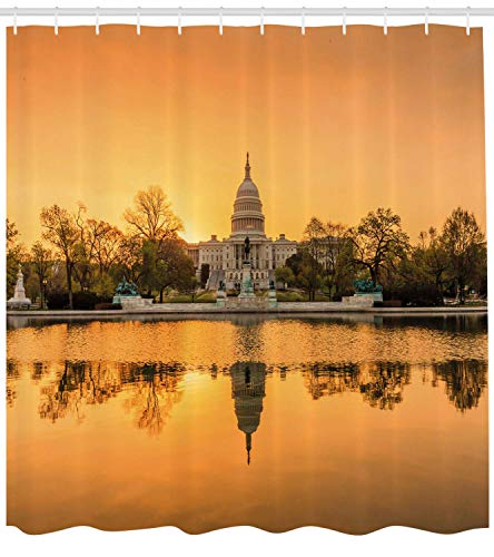 Ginger Rod Shower (JUNN United States Shower Curtain, Washington DC American Capital City White House Above The Lake Landscape, Fabric Bathroom Decor Set with Hooks, 70 Inches, Apricot Ginger)