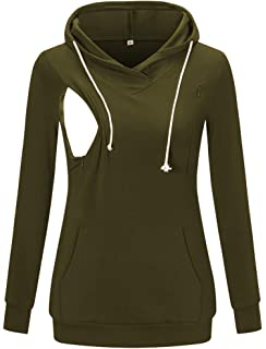 Womens Nursing Hoodie Breastfeeding Sweatshirt Top Maternity 272p Happy Mama Bottle Green, UK 14, XL