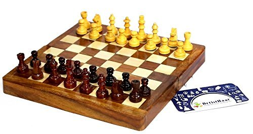 ShalinIndia Handcrafted Wooden Folding Magnetic Chess Set - Wood Travel Games - 5