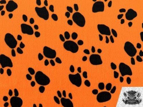 Velboa Faux / Fake Fur Paw Print ORANGE Fabric By the Yard (Paw Prints Faux Fur)