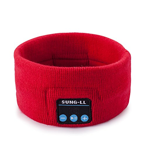 SUNG-LL Wireless Stereo Headphone Handsfree Sleep Headset Sports Scarf Headband (Red)