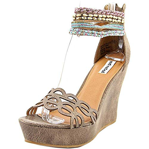 Not Rated Spring Fling Women Open Toe Canvas Brown Wedge Sandal, Taupe, Size 9.0