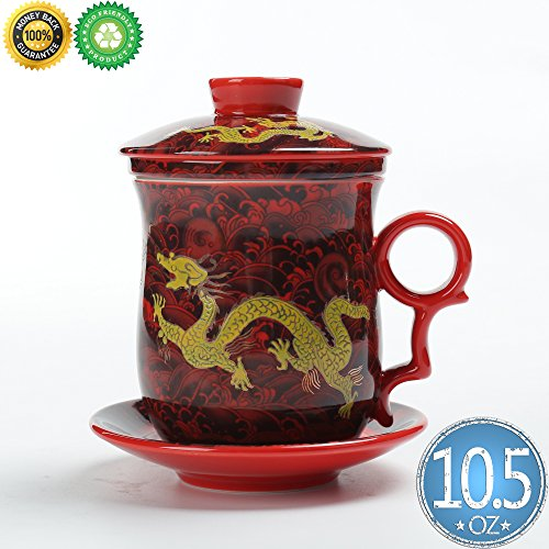 Chinese Tea-Mug(10.5oz) with Strainer Infuser and Lid and Saucer.4 Piece Set,TEANAGOO-Neptune,Japan Ceramic Large White Steeper Diffuser System,Filter Steepe ,Women Mom Gift Red,China Infused Tea Cup