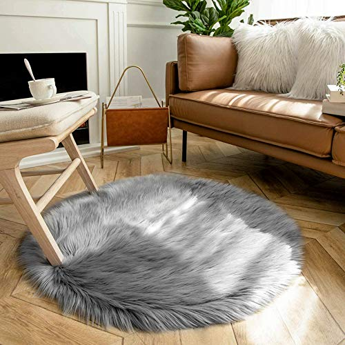 bedee Faux Sheepskin Rug, Faux Fur Rug, Faux Fleece Chair Cover Seat Pad Soft Fluffy Shaggy Area Rugs For Bedroom Living Room Kids Room (Round, Grey, 90x90cm)