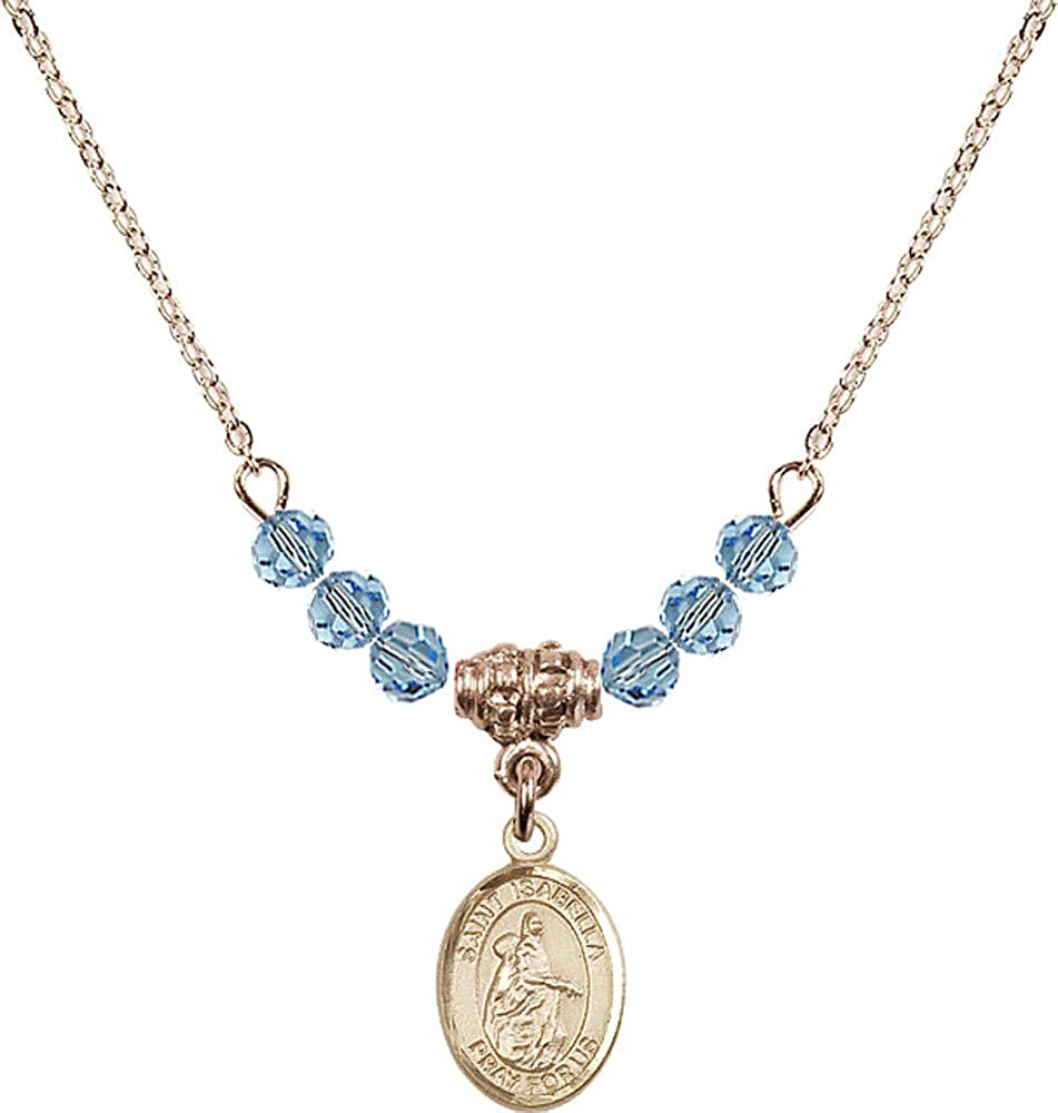 Bonyak Jewelry 18 Inch Hamilton Gold Plated Necklace w// 4mm Blue March Birth Month Stone Beads and Saint Isabella of Portugal