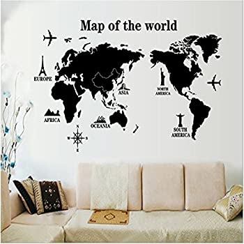 Amazon world map wall decal educational decals world map wall decals stickerskredy world map3d home kids room wall dcor removable diy wall decal sticker art mural for kids boys girls bedroom living room gumiabroncs Gallery