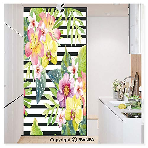 Window Film No Glue Glass Sticker Bouquet with Lily Dahlia Palm Begonia Leaves Orchid Flowers on a Striped Background Static Cling Privacy Decor for Kitchen Bathroom 17.7x59.8inches,Multicolor