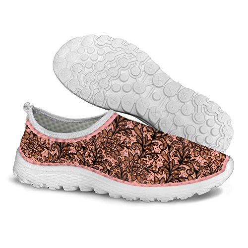 FOR U DESIGNS Vintage Floral Print Womens Casual Mesh Walking Running Shoes Brown 1 qOxp0e