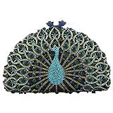 Fawziya Luxury Crystal Clutches For Women Peacock Clutch Evening Bag-Dark Green