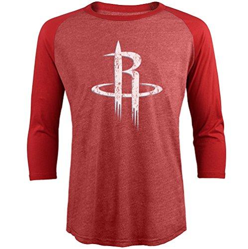 (Majestic Athletic NBA Houston Rockets Men's Premium Triblend 3/4 Sleeve Raglan, Red, Large)