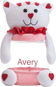 """Fox Valley Traders Personalized Valentine's Day Treat Jar, Custom Cat Design with Screw-Off Lid, 5 ½"""" Wide x 8 ¼"""" High"""