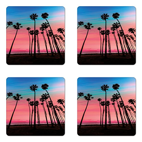 Lunarable Palm Tree Coaster Set of 4, Tree Rows in Santa Barbara USA American Holiday Destination Dreamy Heaven Dawn, Square Hardboard Gloss Coasters for Drinks, Pink Blue