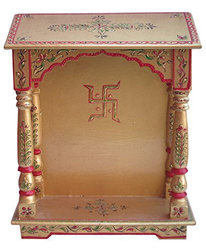 Wood Temple , Puja Mandir, Temple for Home, Pooja Mandir, Pooja Mandir for home with swastika, made with Wood and with Decorative art golden work, Must for every Pooja Room, A Auscipious Hindu Temple (Mandir Indian)