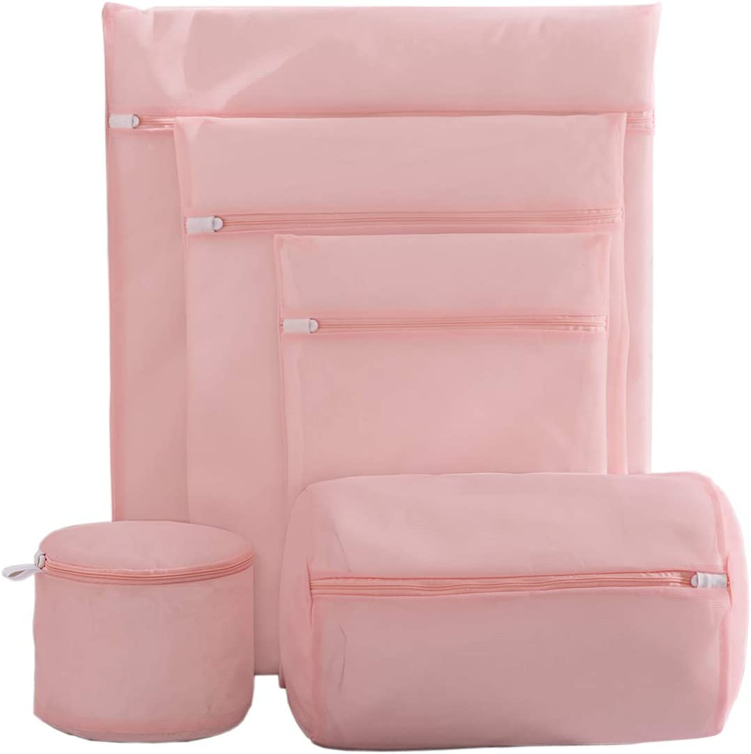 IWEIK Set of 5 Mesh Laundry Bags Clothing Washing Bags Travel Storage Organize Bags Bra Wash Bag (Pink)