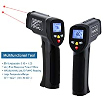 IR Infrared Thermometer, Cateck Lasergrip 817 Dual Laser Non-contact Digital Infrared Thermometer -58℉~1202℉ (-50℃ to 650℃) with Adjustable Emissivity & MAX/MIN/DIF/AVG/HAL/LAL Display, Black
