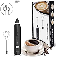 Milk Frother, USB Rechargeable Electric Foam Maker with 2 Stainless Steel Whisk, TOTOBAY Handheld 3 Speeds Egg Beater Drink Mixer Mini Blender for Cappuccino, Latte, Butter coffee, Matcha Tea, Hot Chocolate, Eggs Mix and More
