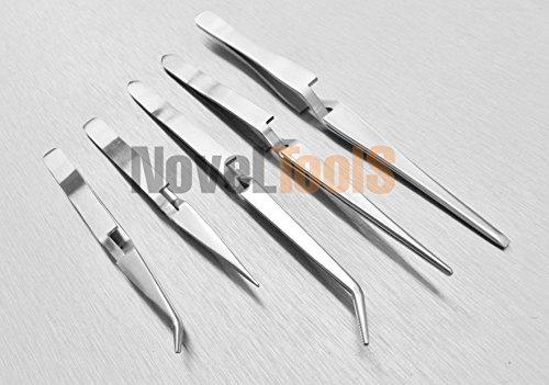 Cross-Locking Tweezers Set 5 Cross Lock Soldering Self Closing Straight And Bent (5E) NOVELTOOLS