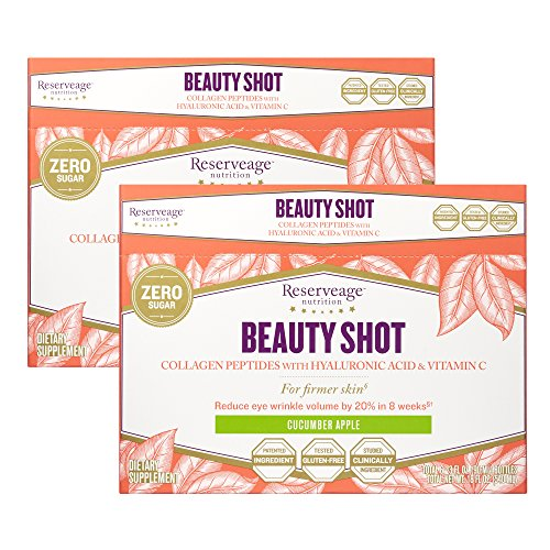 Reserveage - Beauty Shot, Collagen Peptides with Hyaluronic Acid and Vitamin C Support for Firmer Skin, Cucumber Apple, 3 fl oz (6 Pack)