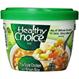 Healthy Choice Soup Microwave Bowl, Thai Style Chicken with Brown Rice, 14 Ounce (Pack of 8)