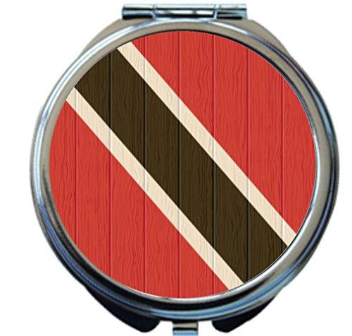 Rikki Knight Trinidad And Tobago Flag on Distressed Wood Design Round Compact Mirror by Rikki Knight