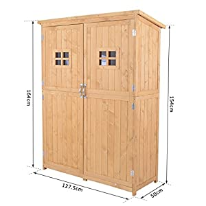 Outsunny Wooden Garden Shed Tool Storage Cabinet Organizer Outdoor Double Door Shelf 127.5L x 50W x 164H cm Natural Wood