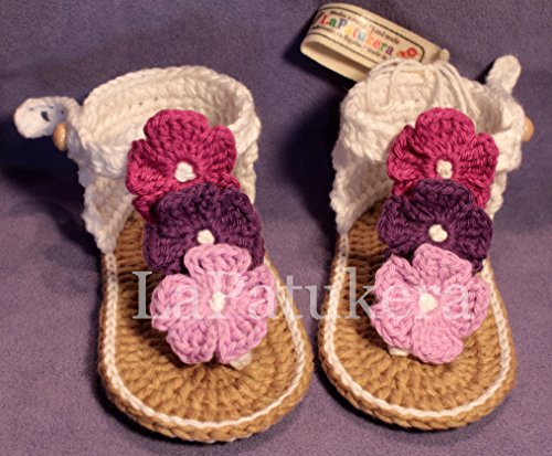 Sandal Model Hawaii TriFlower crochet baby shoes, White and purple roses, 100% cotton, sizes 0 to 12 months, handmade in Spain.