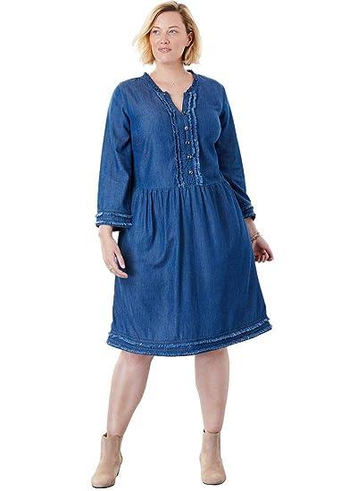 Woman Within Plus Size Pinktucked Denim Dress with Raw-Edge Trim