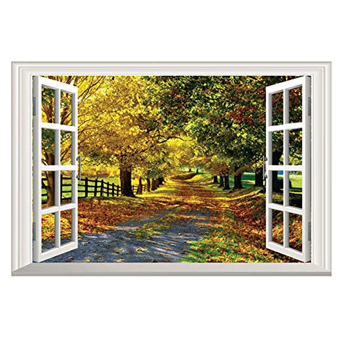 DNVEN 24 inches x 16 inches 3D Full Color High Definition Autumn Feel Road in Forests Nature Forests Scenery False Faux Window Frame Window Mural Vinyl Bedroom Living Room Playroom Wall Decals (Light That Makes Room Look Like Forest)