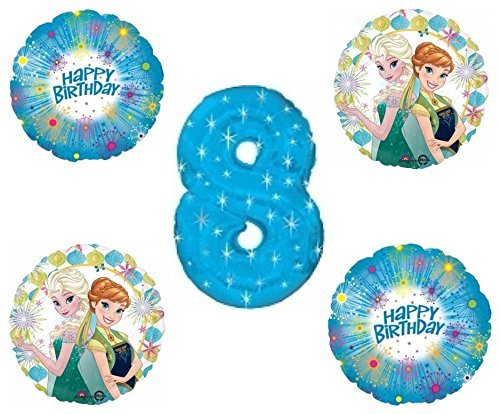 Frozen Fever Blue Sparkle Happy 8th Birthday Balloon Decoration -