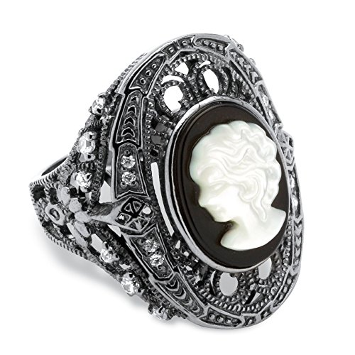 Genuine Black Onyx and White Mother-of-Pearl Cameo and CZ Black Rhodium-Plated Cocktail Ring Size 8 (Pearl Cluster Rhodium Silver Ring)