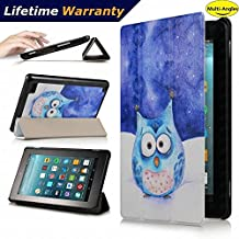 DHZ Folio Case for Amazon Fire HD 8 Tablet(2017 and 2016 Release,7th/ 6th Generation) - Ultra Lightweight Smart Cover Slim Tri-fold Stand Leather Case with Auto Wake / Sleep,Cute Owl