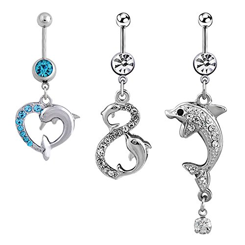 Oasis Plus 3PCS 14G Cute Dolphin Belly Button Ring Dangle Navel Barbell Body Piercing Jewelry