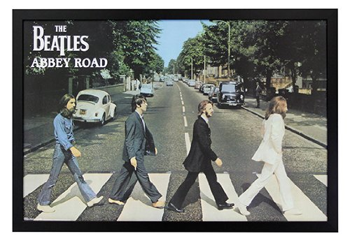 The Beatles - Abbey Road Framed Poster Print on a Black Wood Frame. Made