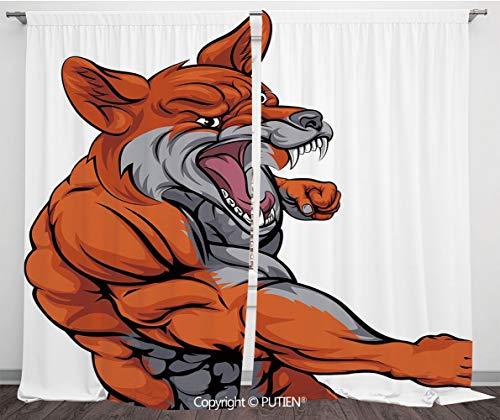 Satin Window Drapes Curtains [ Fox,Muscular Fierce Fox Character Fighting Sports Animal Mascot Punching Monster Decorative,Orange Grey White ] Window Curtain Window Drapes for Living Room Bedroom Dorm]()