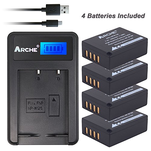 ARCHE NP-W126 NPW126s <4 Pack> Battery and LCD Single Charger KIT for [Fujifilm FinePix HS30EXR, HS33EXR, HS50EXR, X100F X-A1 X-A3 X-A5 X-E1 X-E2 X-E2S X-M1 X-T1 X-T2 X-T10 X-T20 X-Pro1 X-Pro2] by ARCHE