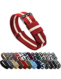 BARTON Watch Bands - Crimson/Khaki 22mm Width or Choice of Color & Width (18mm, 20mm, 22mm, 24mm)