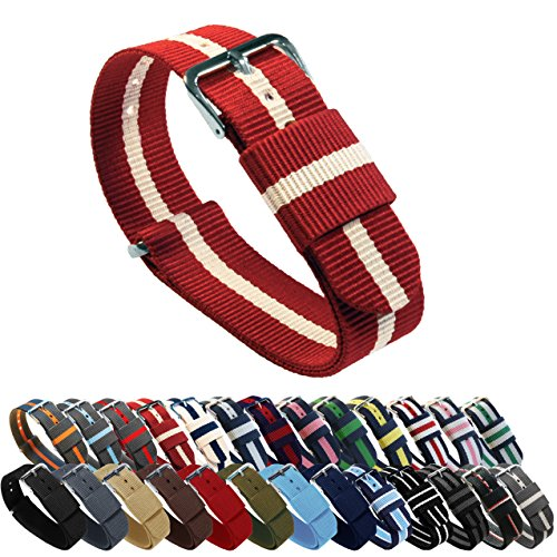 BARTON Watch Bands - Choice of Color, Length & Width - Crimson/Khaki 20mm - Standard Length