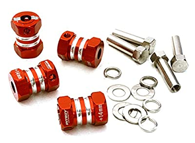 Integy Hobby RC Model C27013RED 12mm Hex Wheel (4) Hub +14mm Offset for 1/10 Scale Truck & Buggy