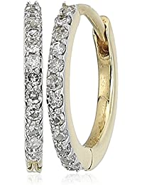 14k Gold Diamond Huggies Hoop Earrings